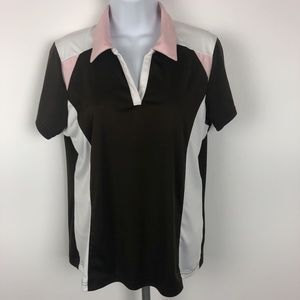 Izod Golf Women's Button Up Polo Size L Brown PB14